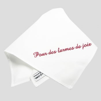 One organic handkerchief woven in France embroidered with a sentence by PhilippeGaber in Paris