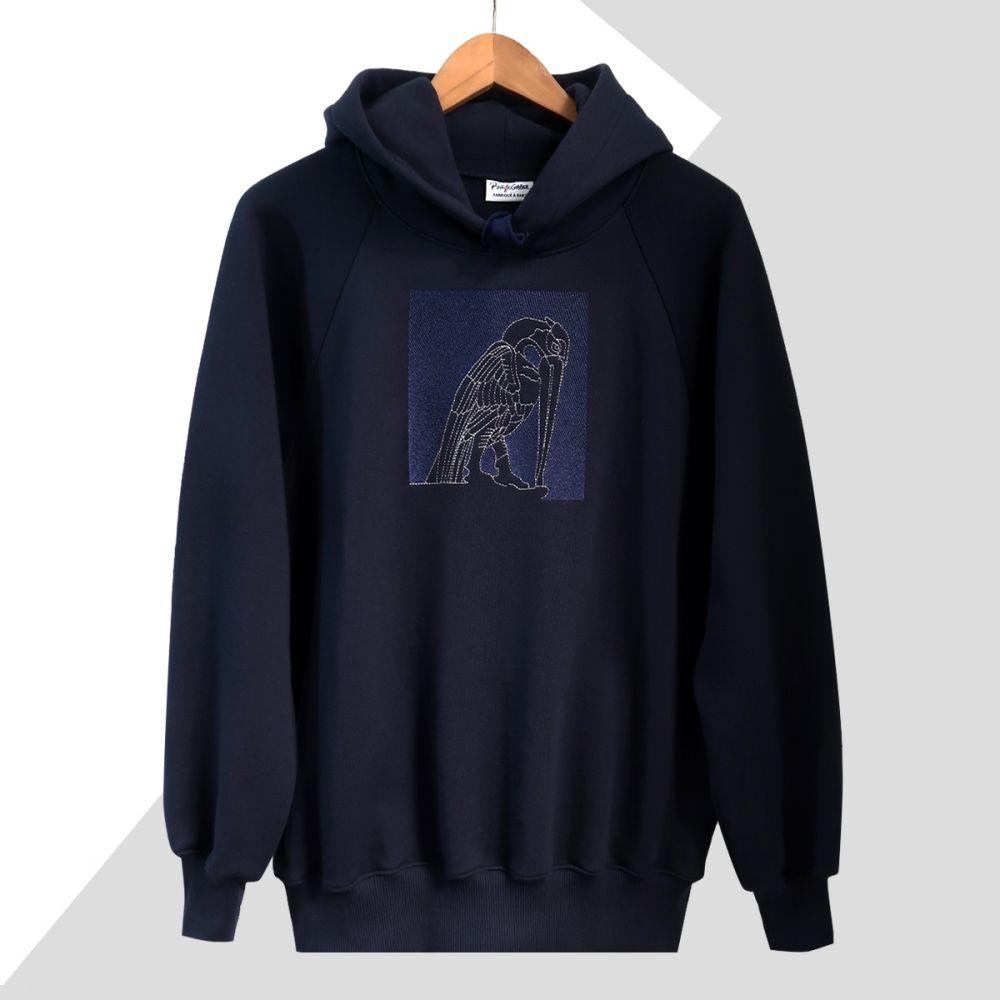 Sweat-shirt hoodie made in France en coton bio broderie gargouille en vibration de bleu fabriqué à Paris par PhilippeGaber