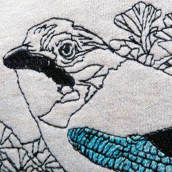 Sweat-shirt en Coton Bio Gots  Geai des chênes brodé et fabriqué à Paris par Philipp Gaber sweat-shirt made in France