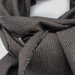 Brown wool & silk woven scraf 2M