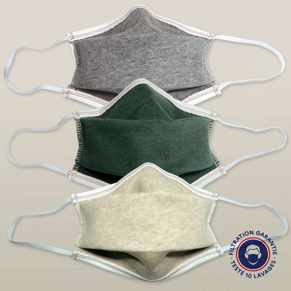 Masque en coton biologique GOTS catégorie 1 performance testées par DGA masque français fabriqué à Paris par PhilippeGaber