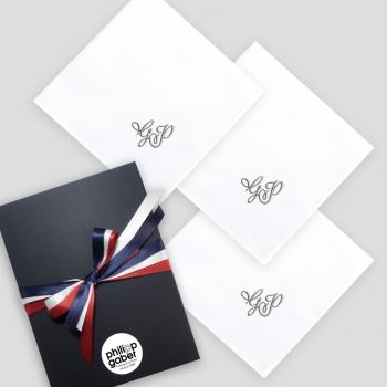 3 mouchoirs tissu Français en coton biologique personnalisés broderie style romantique fabriqué à Paris par PhilippeGaber