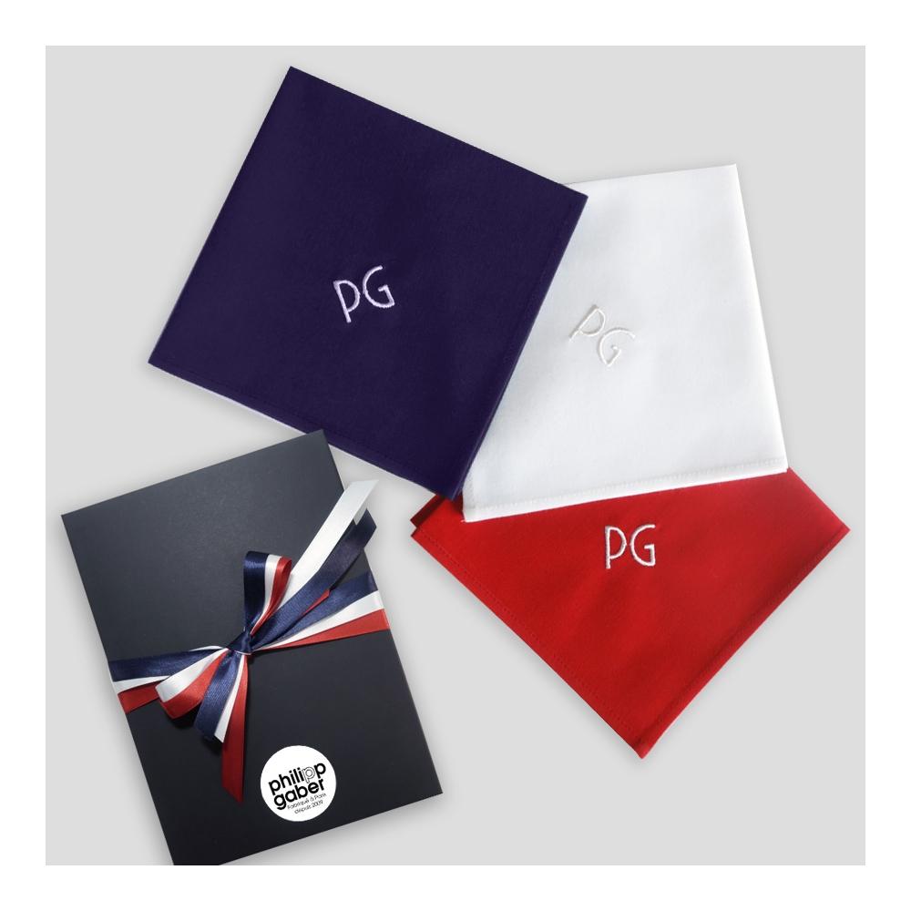 Lot de 3 mouchoirs français tricolore coton biologique personnalisés broderie au choix fabriqué à Paris par PHILIPPEGABER