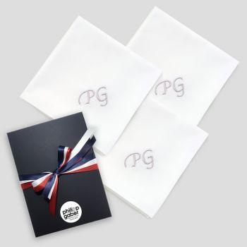 Mouchoir français coton biologique avec personnalisés avec vos initiales brodées Style Chancellerie par PhilippeGaber à Paris