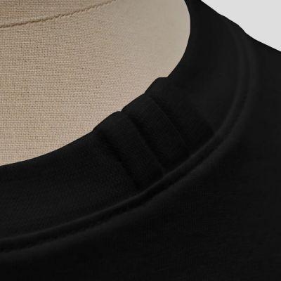 T-shirt français en coton biologique Gots noir avec 3 plis signature sur le col car fabriqué à Paris par PhilippeGaber