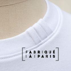 T-shirt français en coton biologique Gots blanc avec 3 plis signature sur le col car fabriqué à Paris par PhilippeGaber