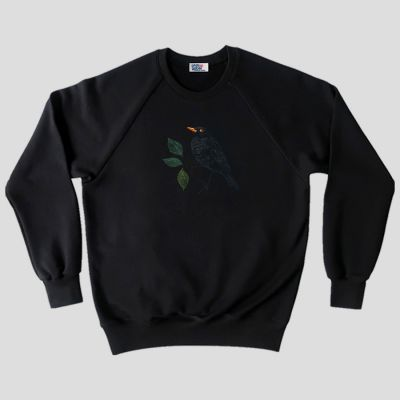 Organic sweatshirt blackbird in the parisian night embroidered  made in Paris France ethical fashion by PhilippGaber ©philippegaber