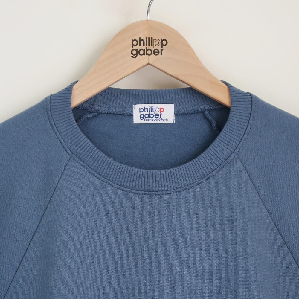 sweat-shirt Ciel parisien 100% coton biologique Gots fabriqué avec éthique à Paris par PhilippeGaber Made in France ©philippegaber