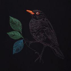 T-shirt français en coton biologique avec broderie  un merle dans la nuit parisienne fabriqué à Paris par PhilippeGaber ©philippegaber