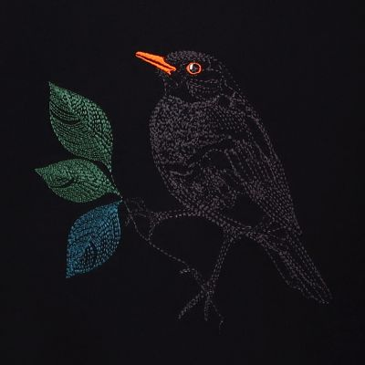 Organic sweatshirt blackbird in the parisian night embroidered & made in Paris for your order with ethics by PhilippGaber