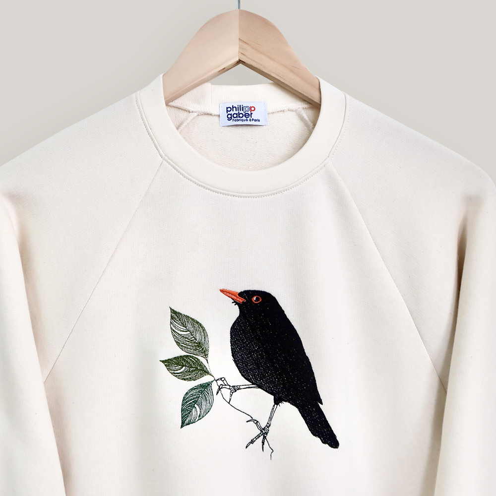 Organic natural Sweat-shirt Black bird embroidered made in Paris France by PhilippeGaber ©philippegaber