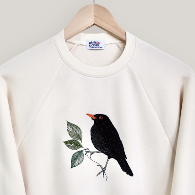 Organic natural Sweat-shirt Black bird embroidered made in Paris France by PhilippeGaber