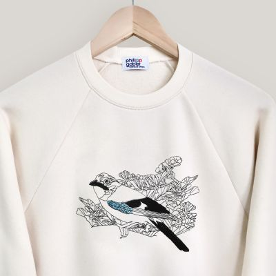 Organic Sweat-shirt with an Eurasian jay embroidered made in Paris by PhilippeGaber