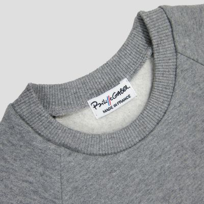 Organic heather grey sweatshirt for men and women made in France