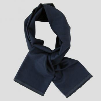 Navy Wool cashmere & Silk herringbone men and women made in France