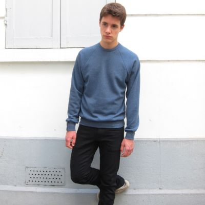 blue Organic Sweatshirt for men and women sweat-shirt Made in France