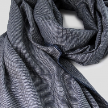 blue gray pure new wool & silk woven scarf made in France Paris