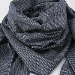 écharpe luxe en laine et soie, motif micro-fantaisie écharpe made in France philippegaber