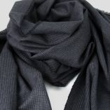 Dark grey herringbone wool, silk & coton woven scarf