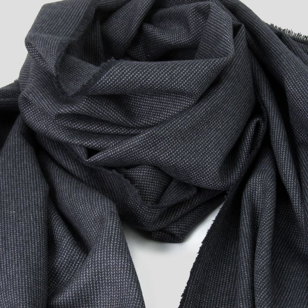Dark grey herringbone wool, silk & coton woven scarf