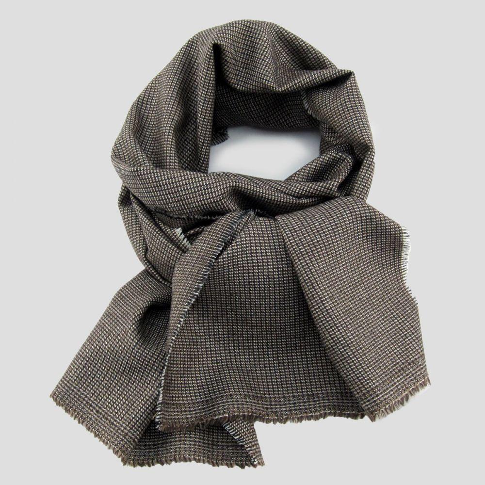 small Brown wool & silk woven scraf