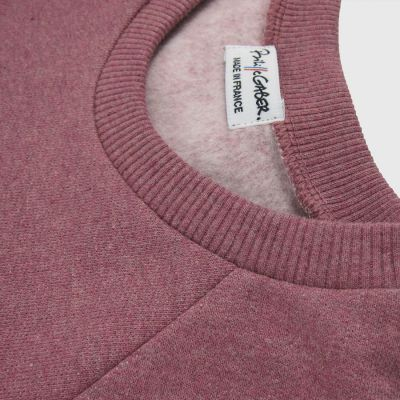 Organic Sweatshirt 3 folds on the right wrist for men and woman, organic old rose, natural, light blue sweatshirt made in Paris