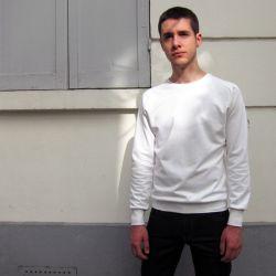 Sweat-shirt éthique homme & femme Blanc coupe manche marteau Made in France Philippe Gaber