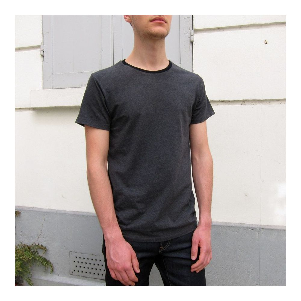 Men's Women's Dark grey Organic T-shirt Black round neck made in France philippegaber