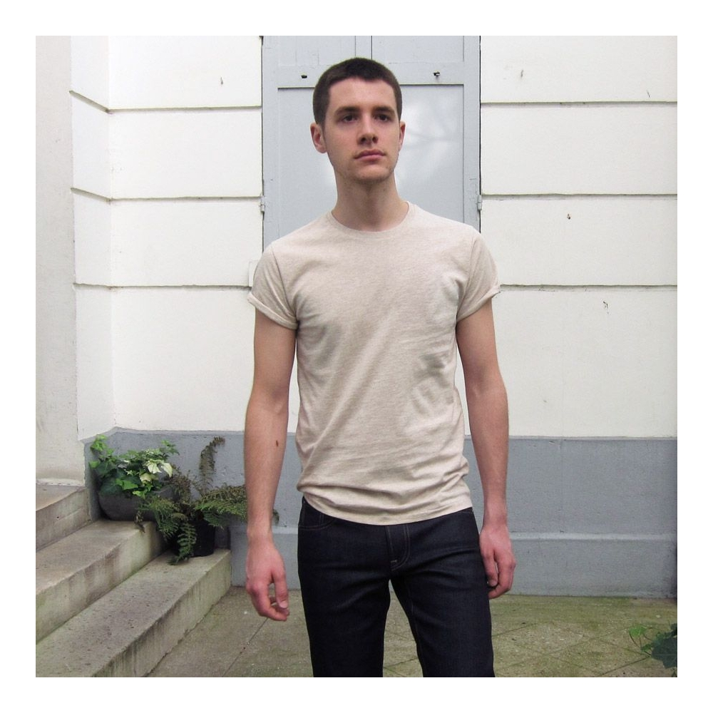Men's & women's Natural Organic T-shirt rolled sleeves Made in France