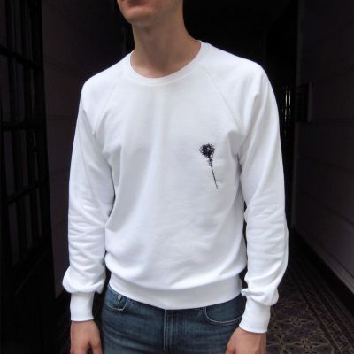 Organic white embroidered sweatshirt Made in France organic sweater for Men and Women made in Paris by Philippe Gaber