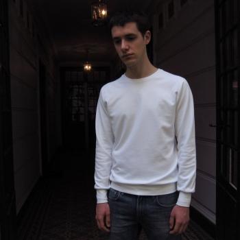 women's men's White Organic saddle shoulder Sweatshirt Made in France by Philippe Gaber