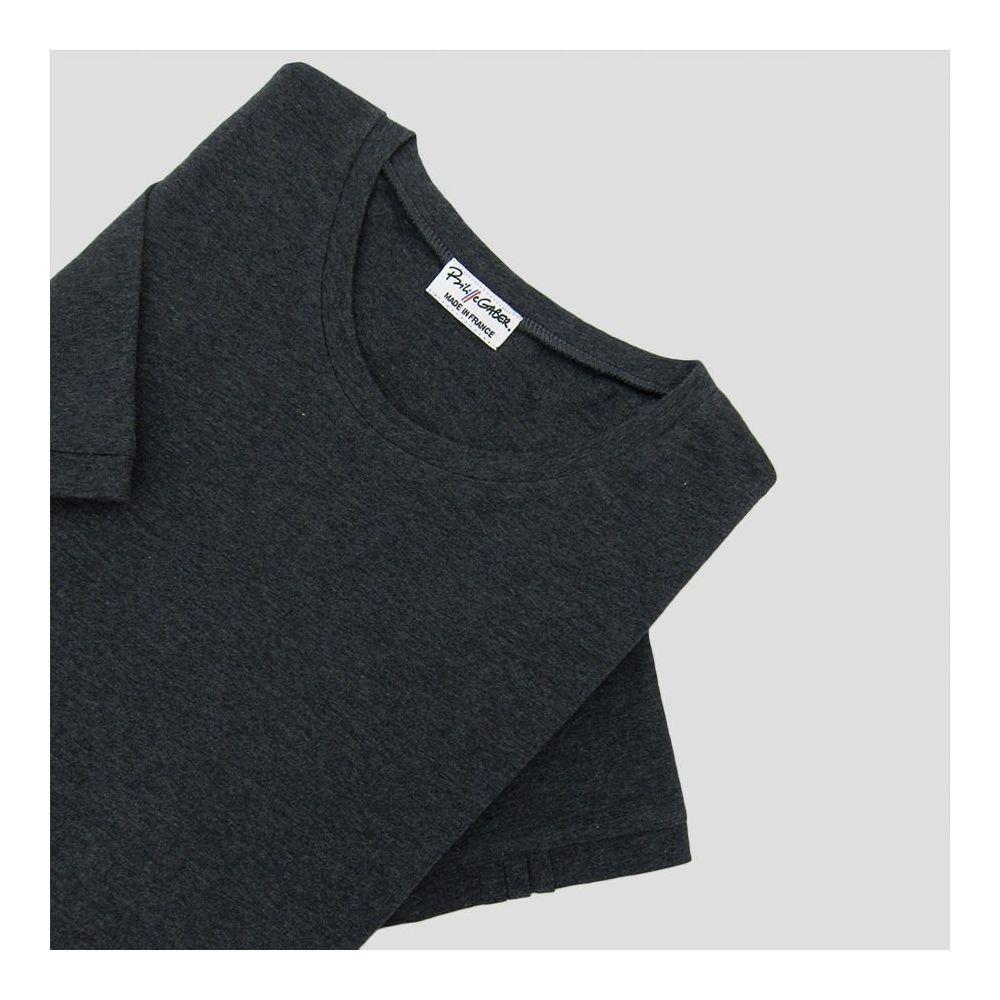 Heater Black Organic T-shirt 3 folds on left sleeve Made in Paris