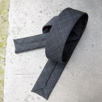 Wool & Silk dark grey Grid Handmade Tie in Paris self-tipping handmade in Paris by philippegaber