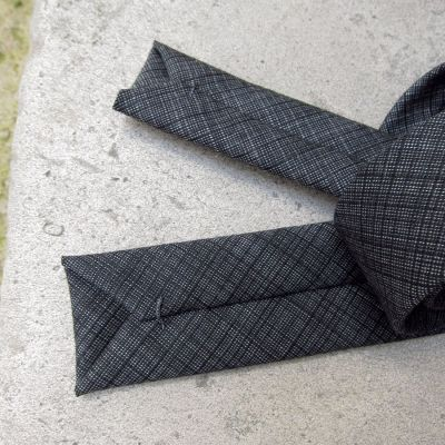 Wool & Silk dark grey Grid Handmade Tie in Paris self-tipping handmade in Paris by philippegaber
