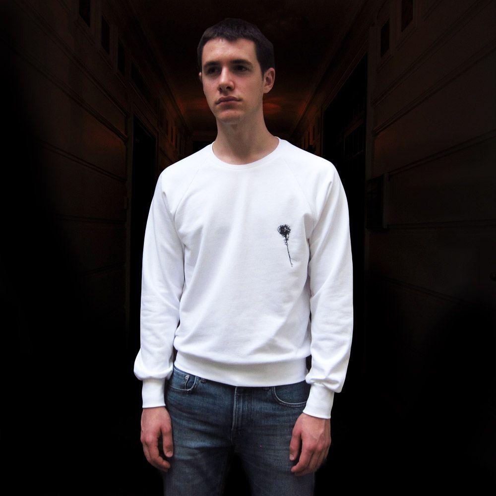 White Organic saddle shoulder Sweater made in Paris