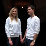 women's men's White Organic saddle shoulder Sweatshirt Made in France by Philippe Gaber