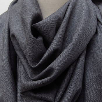 dark grey Wool cashmere & Silk herringbone men and women scarves