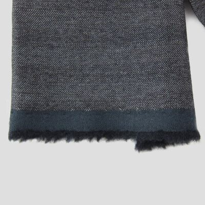 Navy Herringbone wool cashmere and silk woven scraf for men and women made in France by philippegaber