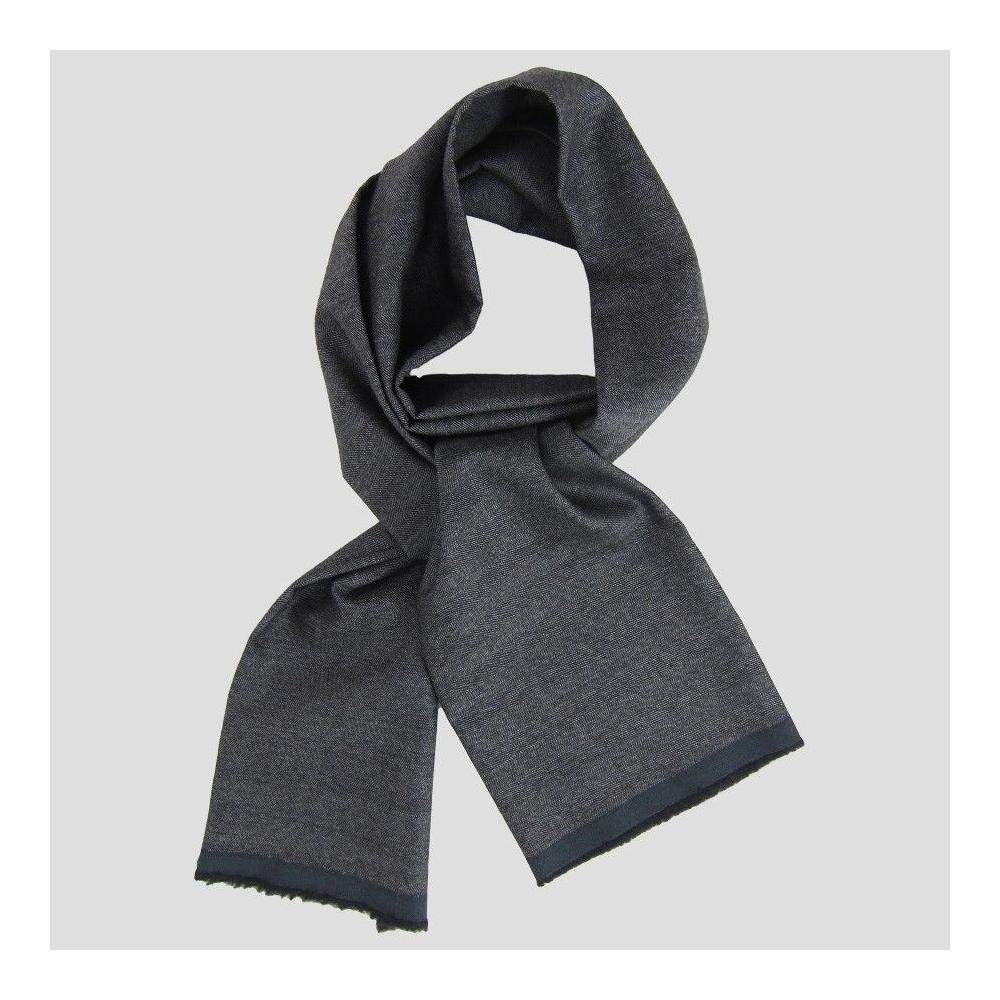 dark grey Wool cashmere & Silk herringbone men and women scarves