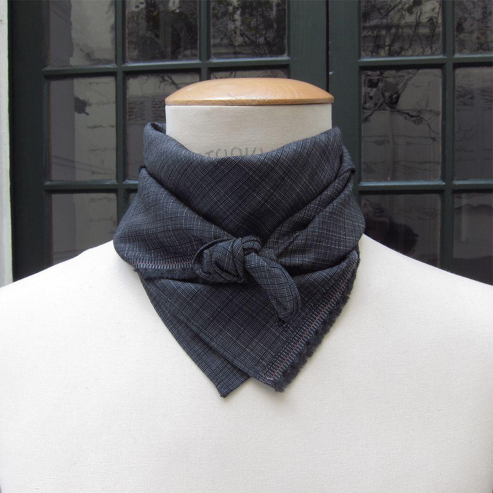 Cotton, cashmere and silk square scarf, silver blue