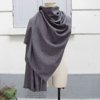 Men's and Women's Parisian mist scarf weathered grey from virgin wool, cotton & cashmere. Scarves Made in France by Philippegaberr