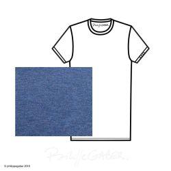 T-shirt Bio bleu chiné  3 plis manche fabriqué en France