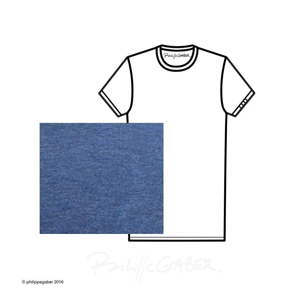 heather blue Organic T-shirt 3 folds on the sleeve Made in France