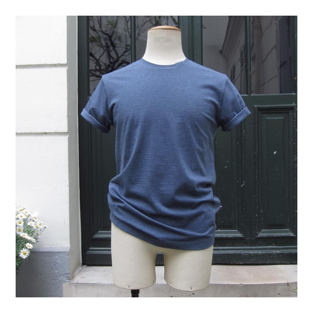 Heather Blue Organic crew neck T shirt Made in Paris