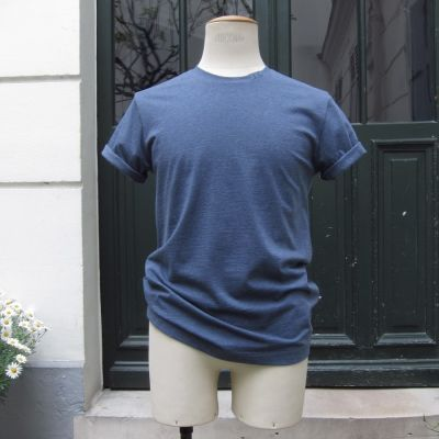 Heather Blue Organic crew neck T shirt Made in Paris