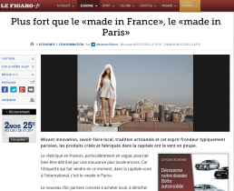 Plus fort que le made in France, le made in Paris ! LE FIGARO – 07.12.12