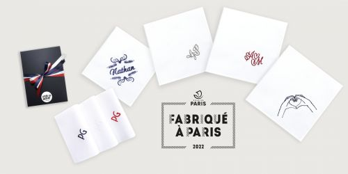 Set of 3 embroidered French organic handkerchiefs
