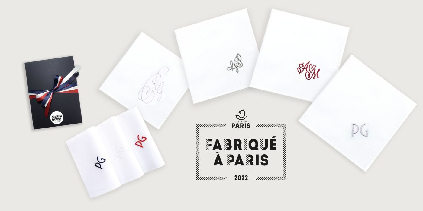 Mouchoirs français coton bio avec initiales brodées