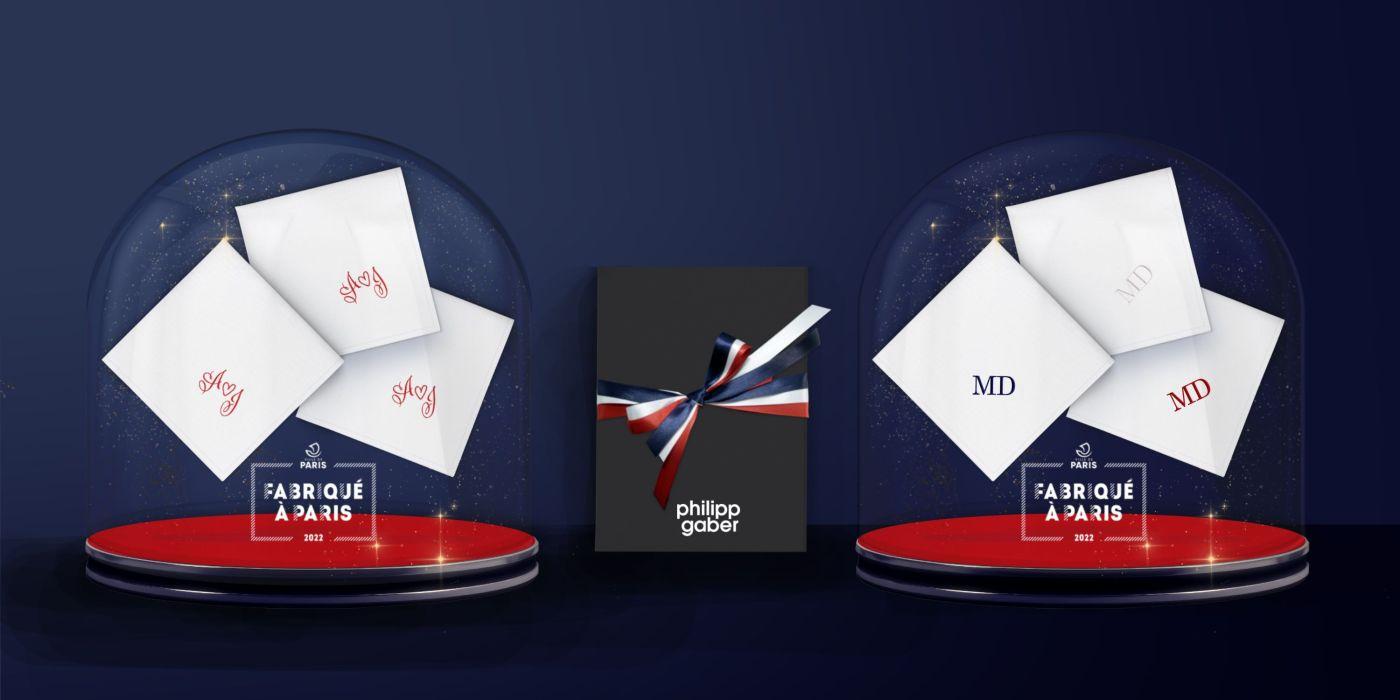 Mouchoirs français coton bio initiales + ornements PHILIPPEGABER