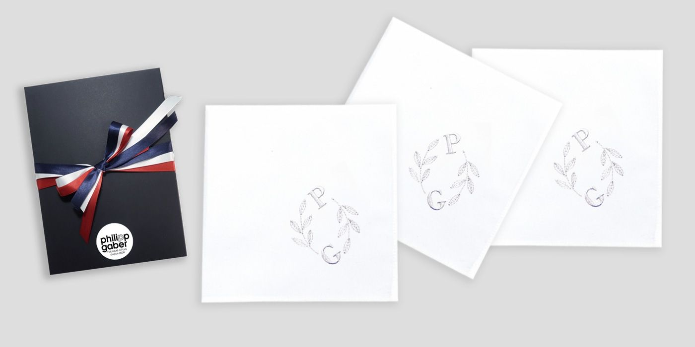 Mouchoirs tissu français broderie initiales et ornement PhilippeGaber